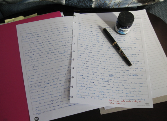 This morning's pages, and the pen and ink I wrote them with
