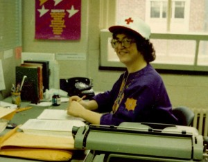 Historic photo of me, ca. 1980, in my editorial cubicle, American Red Cross publications office, Alexandria, Va.