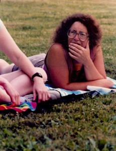 Talking writing on the Wells College lawn, ca. 1987