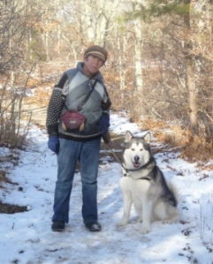 Travvy, my #1 walking buddy, and I take a break on the trail.