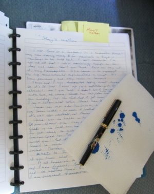 Pen, blotter, and the first page of Glory's mother's monologue