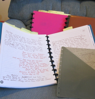 Open notebook with pocket divider