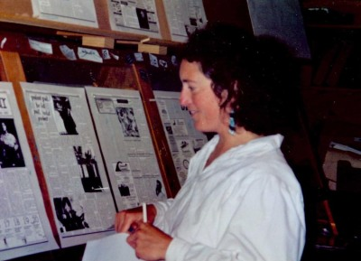 Me, checking the boards at the Martha's Vineyard Times. You can tell it was back in the Pleistocene because the paste-up was pre-digital. October 1993.