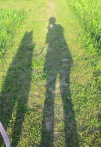 It's hard to take a selfie of me and Trav walking, so here are our shadows.