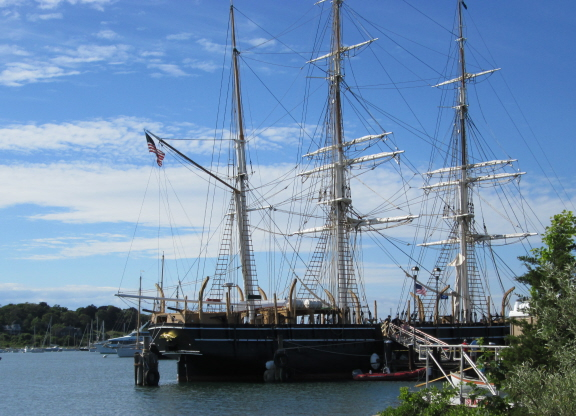 The Charles W. Morgan, restored 19th century whaling ship, seen from the dock. Vineyard Haven, Mass., June 2014.