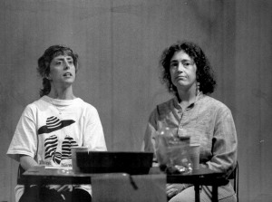 Me (right) in rehearsal, spring 1994, Vineyard Playhouse.